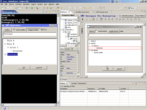 Screenshot of J2S SWT with SWT Designer