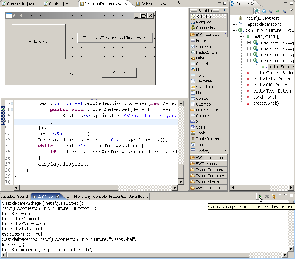 Tutorial of j2s in eclipse 5 how to use orglipseswt tour screenshot of j2s swt with visual editor baditri Choice Image